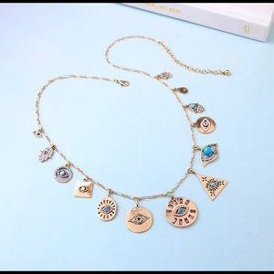 Evil Eye Turquoise Crystal Gold Charm Necklace